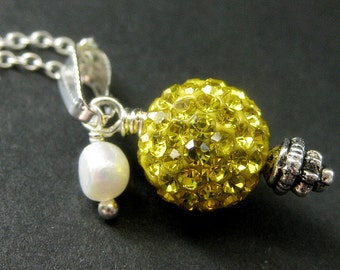 Yellow Necklace. Kissing Ball Necklace. Rhinestone Necklace with Fresh Water Pearl. Handmade Jewelry.