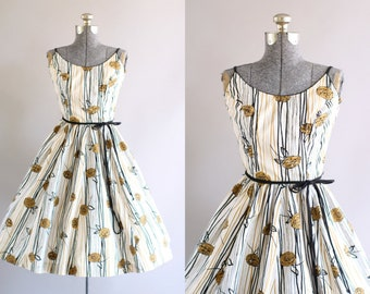 Vintage 1950s Dress / 50s Cotton Dress / Jerry Gilden Yellow and Black Rose Print Dress XS