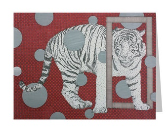 White Tiger Card - Blank Greeting Card - Safari Stationery - Cat Lover Card - Zoo Animal Card - Wildlife Stationery - Red Note Card - Thanks