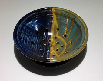 Stoneware Pottery Berry Bowl with saucer  Sunrise Sunset colander saucer blue water