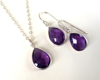 Amethyst Earrings, Amethyst Necklace, February Birthstone, February Birthday