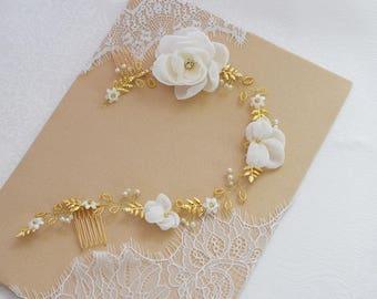 Wedding Hair Vine, Rose Gold Hair Vine, Silver Wedding Halo, Bridal hair vine, Bridal Halo, Wedding Headpiece, Pearl Hair VIne, Pearl Wreath