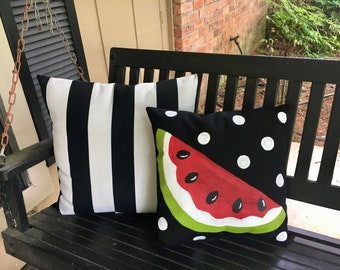 Hand painted Whimsical Watermelon Outdoor Pillow