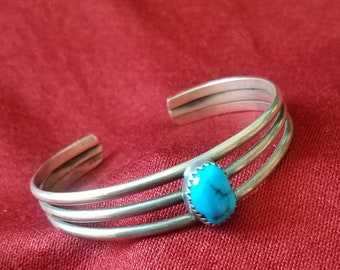 Sterling silver and turquoise  southwest cuff