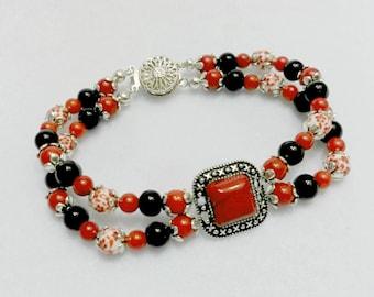 Red and black bracelet, beaded bracelet, red bracelet, black bracelet, silver bracelet, old silver bracelet
