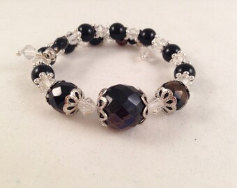 Black and White Crystal Bangle Bracelet with Silver Trim Wraps Around 1.5 Times Fits all Wrist Sizes OOAK Previously 23 Dollars ON SALE