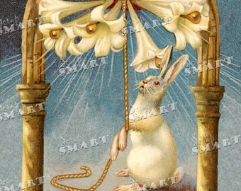 Adorable Easter bunny and lillies - in a full collage sheet digital download - DESTB14