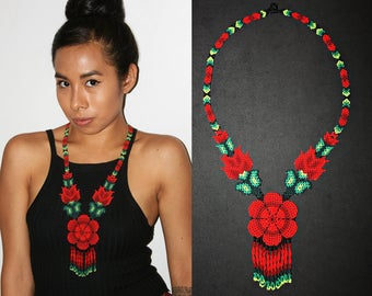 Traditional Huichol Beadwork Necklace, Red Flower Necklace, Seed Bead Necklace, Native American Style Beaded Necklace, Statement Necklace
