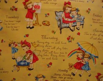 Dear Little World  on Yellow Fabric  ( Quilt-gate )