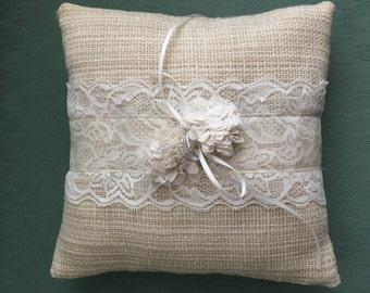 Rustic Wedding Ring Bearer Pillow
