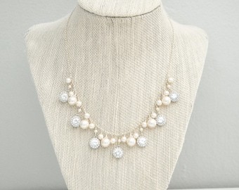 Wedding Necklace, Bridal Necklace, Pearl Cluster Necklace, Charm Necklace, Wedding Jewelry