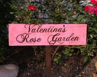 Garden Sign, Rose Garden Sign, Custom Garden Sign, Personalized Garden Sign, Handpainted Wood Garden Sign in Custom Colors, Exterior Coated