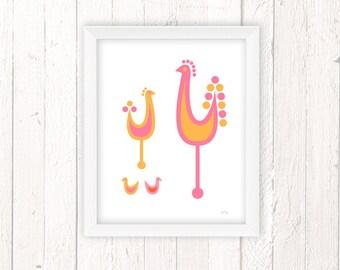 Rooster Art Print, Chicken Decor, Chicken Lover Gift, Kitchen Wall Art