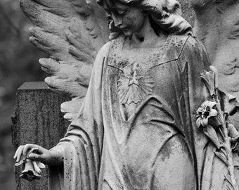 Angel Photography, Religious Art, Cemetary Art, Angel Wings, Black and White, Cemetary Headstone, 8 x 12