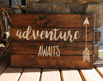 Adventure Awaits Rustic Distressed Wood Plank Sign - Cabin, Woodland, Outdoor, Rustic, Cottage, Wildlife