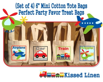 Transportation Plane Car Helicopter Train Birthday Party Treat Favor Gift Bags Mini Cotton Totes Children Kids - Sets of 4