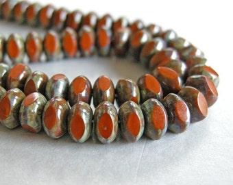 orange picasso czech glass, fifty donut beads 6mm by 4mm, czech glass beads
