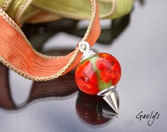Carro - collier pendentif, pendentif interchangeable et ruban de soie  - Perle florale - fleur rouge - Gaelys