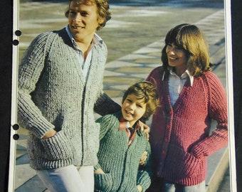 Original Vintage Knitting Pattern Family Ribbed Cardigan (008)