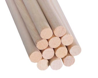 "3/8 x 12"" (12 Pack) Wood Dowel Rod, Tapestry Making Woodworking Supplies, WHOLESALE!"