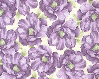 SALE Packed Floral Fabric Half Yard, or By The Yard; C5293; Timeless Treasures; Veranda; Purple, Green, Cream