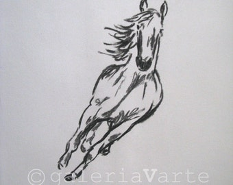 original charcoal drawing  -  horse - europeanstreetteam