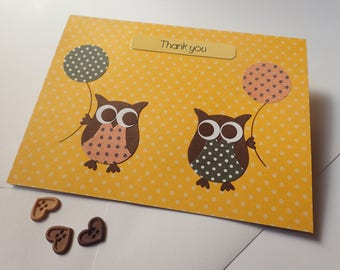 Owl Thank You Card - Handmade Greeting Card - Handmade Owl Thank You Card - Thank You Card - Owl Greeting Card - Handmade Owl Card -Owl Card