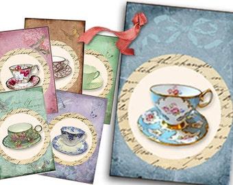 Vintage Tea Tags digital Collage Sheet, Shabby Chic tea cups, tea party gift tags, tea decor, bridal shower tea, printables, mothers day