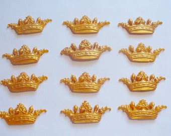 12 GOLD CROWNS Edible Fondant Cupcake Toppers Cake Decorations