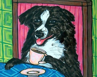 25% off Australian Shepherd at the Coffee Shop Dog Art Tile Coaster Gift