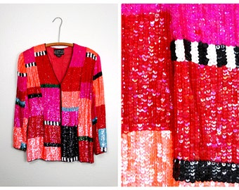 NEON Red Pink & Orange Sequin Jacket / Bright Retro Sequined Blazer / Color Block Sequined Jacket