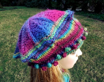 Small Victoria Tam in Stained Glass Colorway Handknit Blue Green Pink Purple Yellow