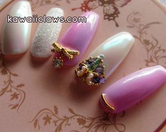 Iridescent Princess Swarovski Crystal Gel Nail Art Press on false fake nails Squaletto/Ballerina/Coffin Pink & Purple Ombré