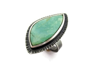 Natural Turquoise Ring, Turquoise Statement Ring, Turquoise Silver Ring Texture, Large Free Form Turquoise Earthy Ring, Contemporary Jewelry