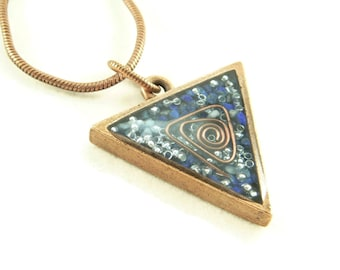 Orgone Energy Triangle Pendant in Copper with Lapis Lazuli - Unisex Necklace - Men's Necklace - Energy Jewelry - Artisan Jewelry