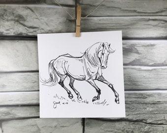 Cheval art original «Cantering dans l'herbe» de stylo et encre croquis dessin