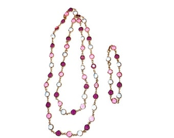 Swarovski Crystal Pink & Blue Bezel Set Necklace and Bracelet Set