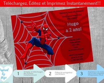 L'Homme Araignée Invitation d'anniversaire garçon & Carte de Remerciement, Téléchargement Instantané, Invitation français à Personnaliser
