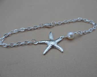 Starfish and Pearl Bracelet or Necklace