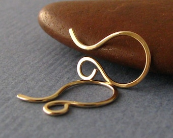 Tiny French Hoop Ear Wires, 14k Gold Filled, Handmade Artisan Findings