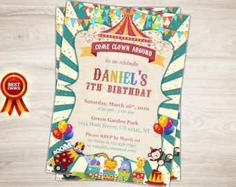 Carnival Invitation, Circus Invitation, Carnival 5th 6th 7th Birthday Invitation, Circus Birthday Invitation, Carnival Invite, Circus Invite