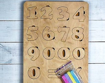 Number Puzzle - wooden, 0 through 10. Plywood numbers. Wooden numbers Puzzle. Educational puzzle. Educational Gift for Childrens
