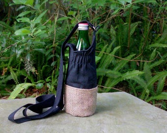 Water Bottle Bag, Drink Holder, Canvas Water Bottle Bag, Vegan Water Bottle Bags, Eco Water Bottle Carrier, Eco Food Bag, Water Bottle Tote