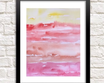 Sunset painting, Watercolor Tropical art, Abstract watercolor print, sky print, Orange wall art, Beach house wall art, sunrise painting