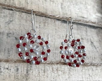 Red crystal and  pearl spirals