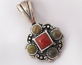 Silver Pendant with Red Coral, Jasper and Unakite Pendant, Gifts for Her