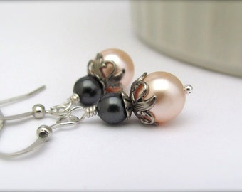 Peach Bridesmaid Earrings, Pearl Bead Dangles, Peach and Gray Wedding Jewelry, Bridesmaid Jewelry Sets, Peach Bridal, Bride on a Budget