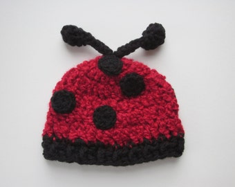 Lady bug hat~ Sizes Newborn up to 2 years ~ crocheted fuzzy red hat with antennaes