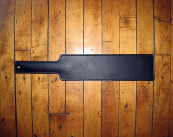 BDSM Leather Spanking Paddle Fraternity with Metal Handle Insert