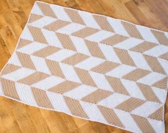 Instant Download - Crochet Pattern - Herringbone Blanket
